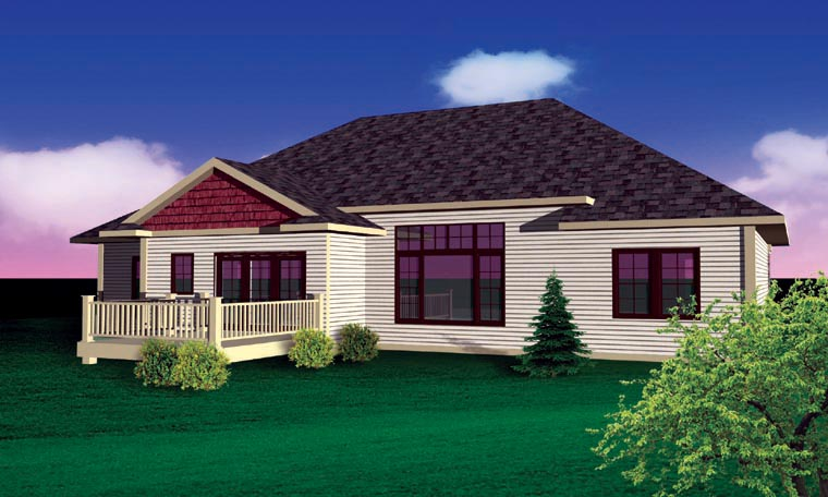 Bungalow, Craftsman, Ranch, Traditional House Plan 73135 with 3 Beds, 2 Baths, 3 Car Garage Rear Elevation