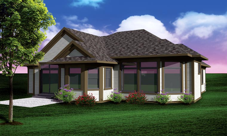 Ranch Traditional House Plan 73136 Rear Elevation