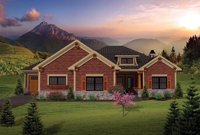 Ranch , Craftsman House Plan 73137 with 2 Beds, 2 Baths, 3 Car Garage Elevation