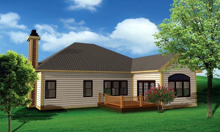 Ranch , Craftsman House Plan 73137 with 2 Beds, 2 Baths, 3 Car Garage Rear Elevation