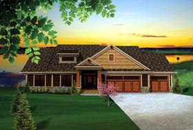 Craftsman , Traditional House Plan 73140 with 3 Beds, 2 Baths, 3 Car Garage Elevation