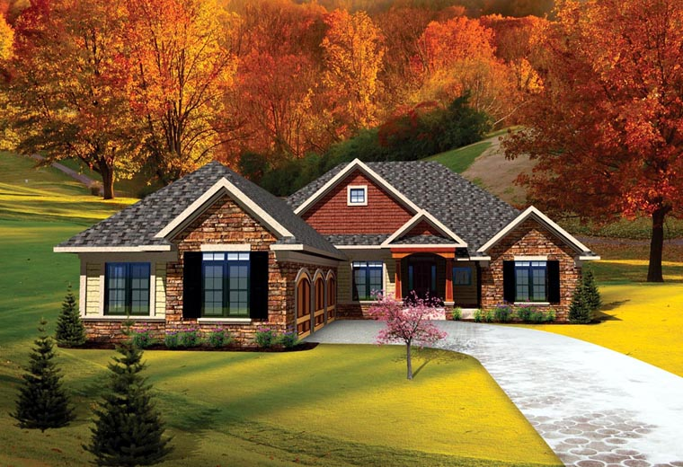 Ranch , Traditional House Plan 73141 with 3 Beds, 3 Baths, 3 Car Garage Elevation
