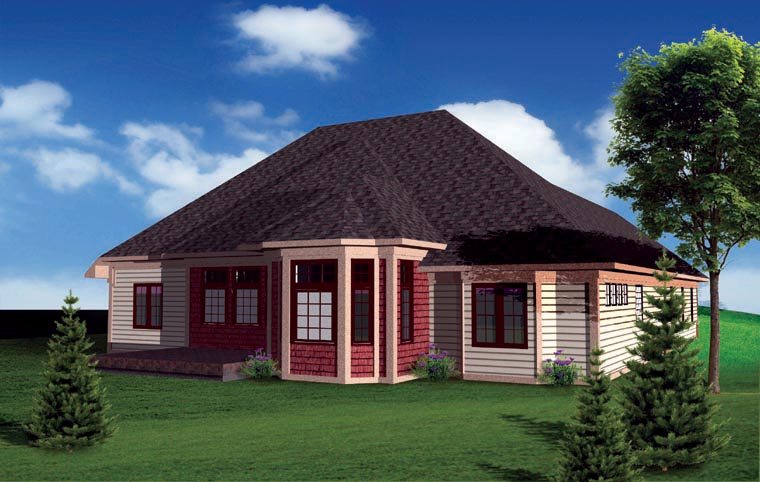 Ranch , Traditional House Plan 73141 with 3 Beds, 3 Baths, 3 Car Garage Rear Elevation