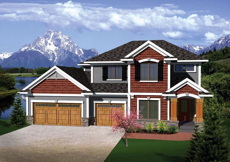 Prairie Style , Traditional , Elevation of Plan 73144