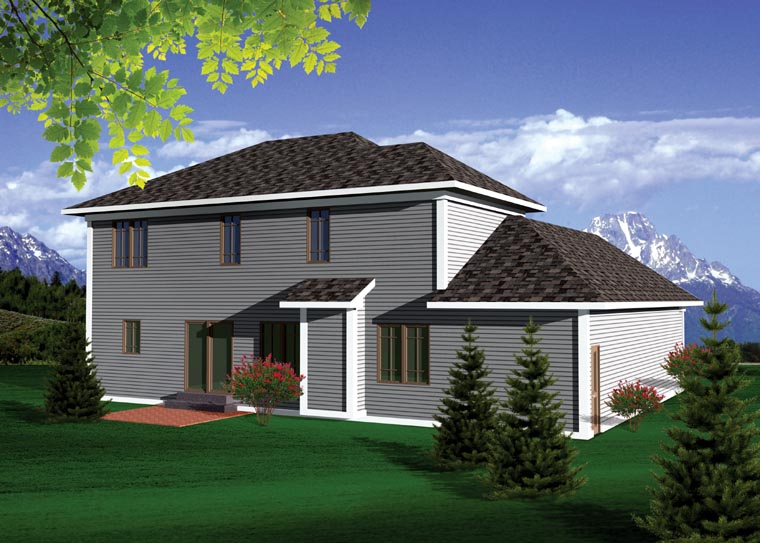 Prairie Style , Traditional , Rear Elevation of Plan 73144