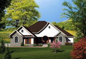 Country , Ranch House Plan 73145 with 3 Beds, 2 Baths, 3 Car Garage Elevation