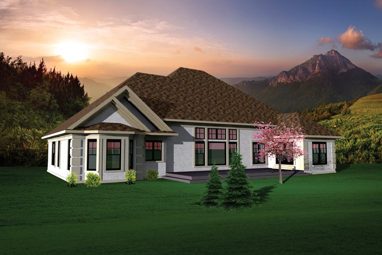 Country , Ranch House Plan 73145 with 3 Beds, 2 Baths, 3 Car Garage Rear Elevation