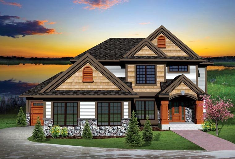 Traditional House Plan 73146 with 4 Beds, 3 Baths, 3 Car Garage Elevation