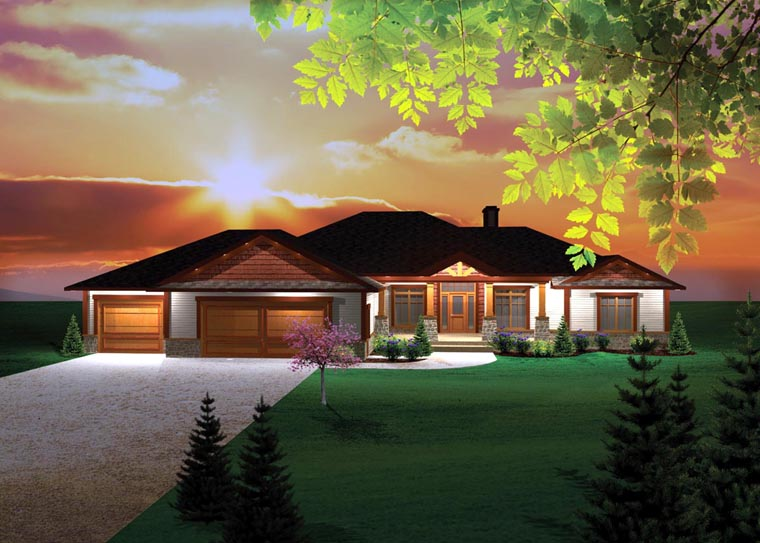 Craftsman Ranch Traditional House Plan 73147 Elevation