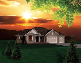 House Plan 73148 | Ranch Style Plan with 1645 Sq Ft, 2 Bedrooms, 2 Bathrooms, 3 Car Garage Elevation