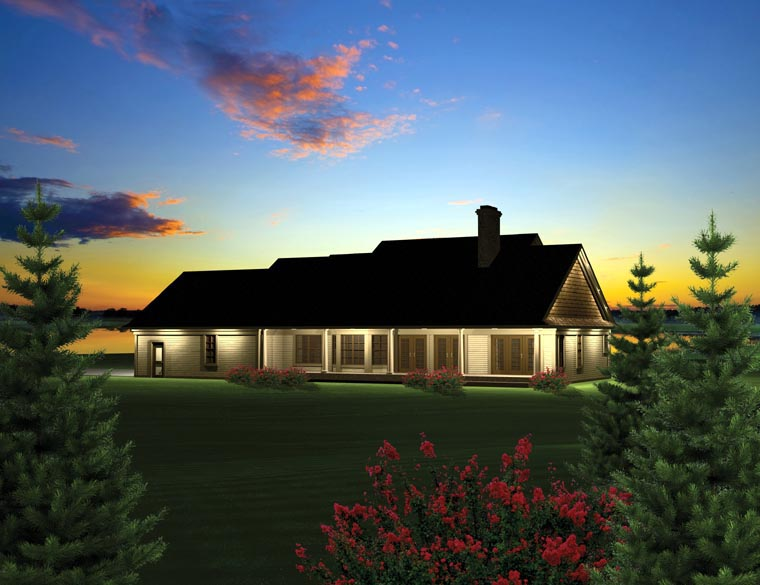 House Plan at FamilyHomePlans comRanch House Plan Rear Elevation