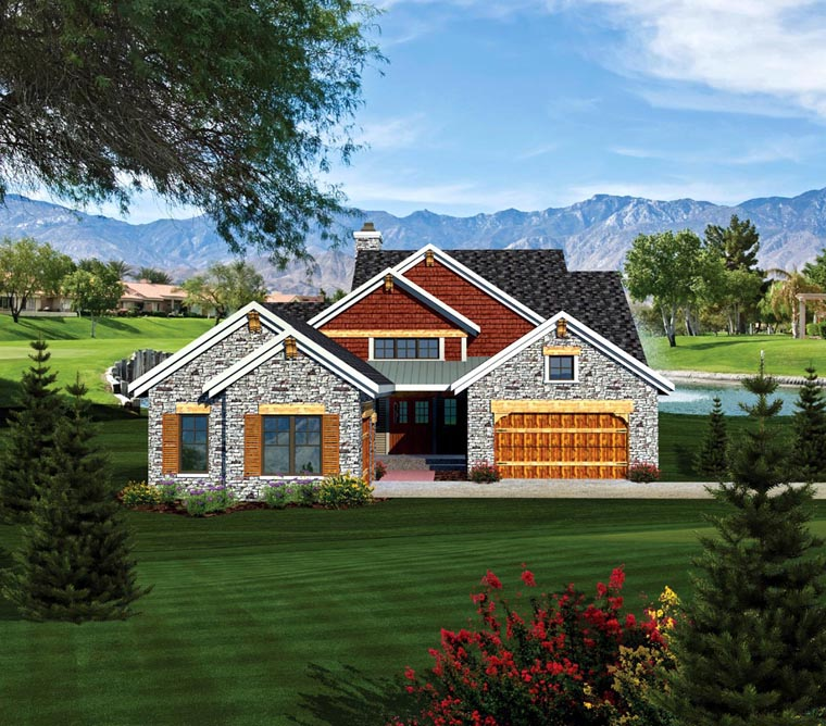 Ranch House Plan 73157 with 2 Beds , 3 Baths , 3 Car Garage Elevation