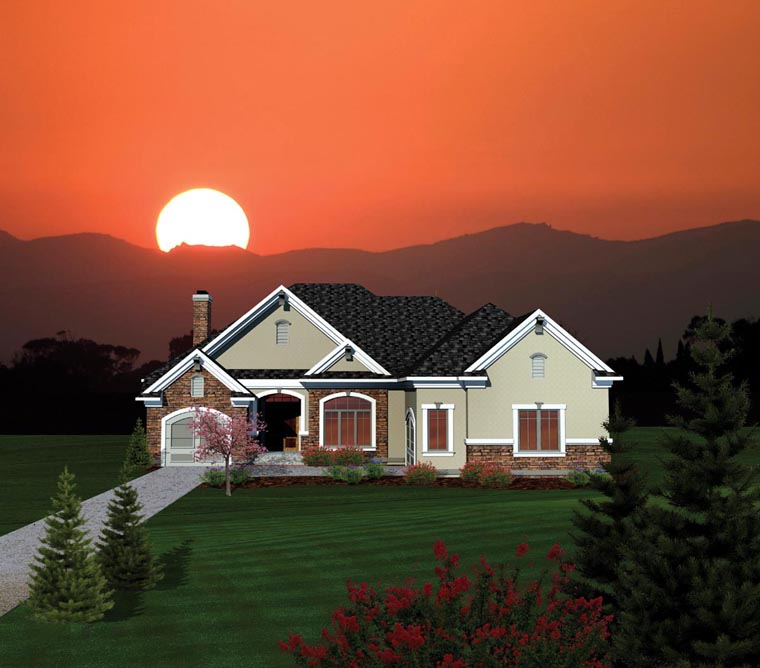 Ranch House Plan 73166 with 2 Beds, 3 Baths, 3 Car Garage Elevation