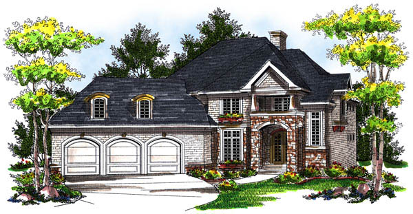 House Plan 73170 | European Style House Plan with 3551 Sq Ft, 4 Bed, 4 Bath, 3 Car Garage Elevation