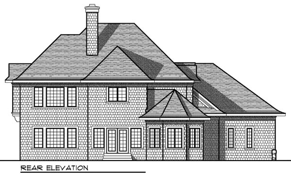 House Plan 73170 | European Style House Plan with 3551 Sq Ft, 4 Bed, 4 Bath, 3 Car Garage Rear Elevation
