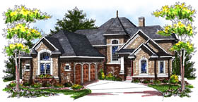 House Plan 73171   European Tudor Style Plan with 3185 Sq Ft, 4 Bedrooms, 4 Bathrooms, 3 Car Garage Elevation