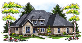 House Plan 73174 | European Style Plan with 2698 Sq Ft, 4 Bedrooms, 4 Bathrooms, 3 Car Garage Elevation