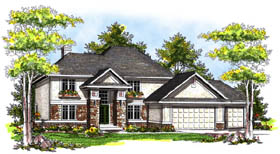 Traditional , Contemporary House Plan 73175 with 4 Beds, 4 Baths, 3 Car Garage Elevation