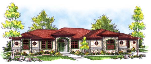 Mediterranean Prairie Style Southwest House Plan 73182 Elevation