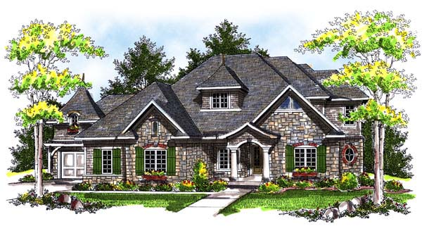 House Plan 73183 | European Style Plan with 2781 Sq Ft, 3 Bedrooms, 3 Bathrooms, 3 Car Garage Elevation