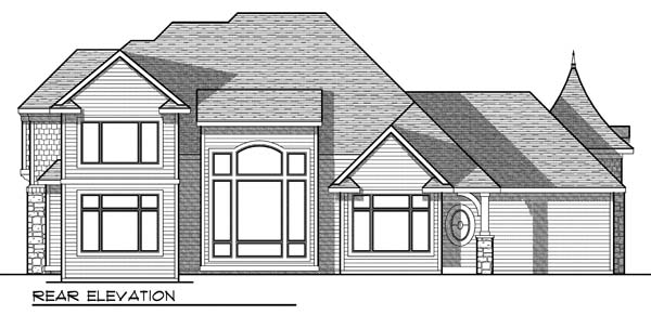 House Plan 73183 | European Style Plan with 2781 Sq Ft, 3 Bedrooms, 3 Bathrooms, 3 Car Garage Rear Elevation