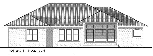 One-Story Traditional Rear Elevation of Plan 73185
