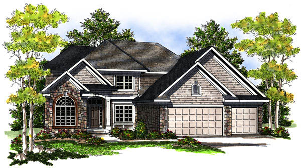 European, Traditional House Plan 73191 with 4 Beds, 3 Baths, 3 Car Garage Elevation