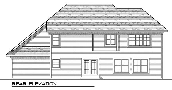 European, Traditional House Plan 73191 with 4 Beds, 3 Baths, 3 Car Garage Rear Elevation