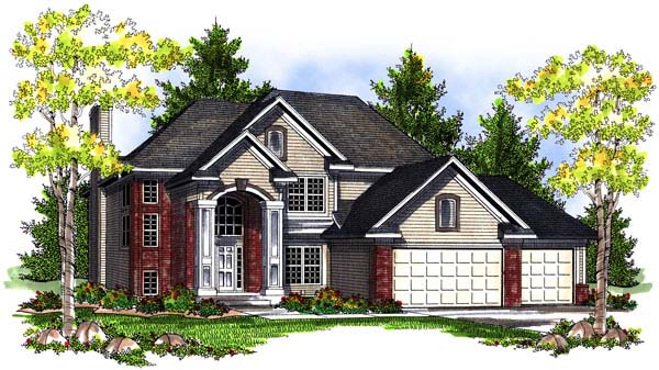 Traditional House Plan 73192 with 4 Beds, 3 Baths, 3 Car Garage Elevation