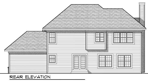 Traditional House Plan 73192 with 4 Beds, 3 Baths, 3 Car Garage Rear Elevation