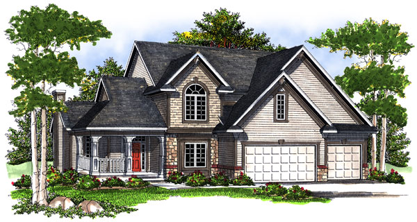 European House Plan 73194 with 4 Beds, 3 Baths, 3 Car Garage Elevation