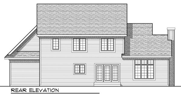 European House Plan 73194 with 4 Beds, 3 Baths, 3 Car Garage Rear Elevation
