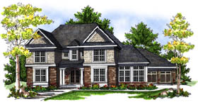 House Plan 73198 | European, Traditional Style House Plan with 3491 Sq Ft, 3 Bed, 4 Bath, 3 Car Garage Elevation