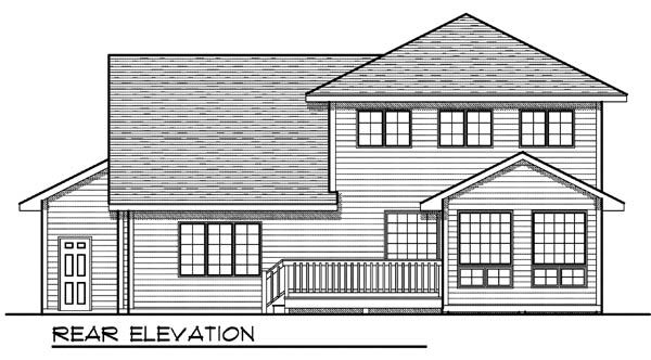 Country Traditional Rear Elevation of Plan 73199