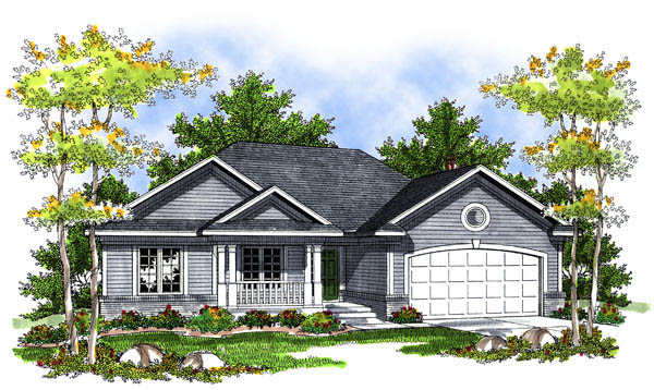 House Plan 73202 | Ranch Style Plan with 1496 Sq Ft, 3 Bedrooms, 2 Bathrooms, 2 Car Garage Elevation