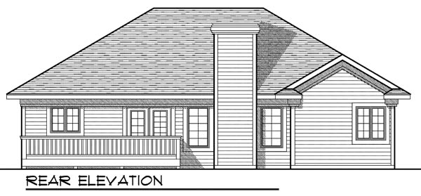 House Plan 73202 | Ranch Style Plan with 1496 Sq Ft, 3 Bedrooms, 2 Bathrooms, 2 Car Garage Rear Elevation