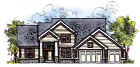 House Plan 73204 | Craftsman Traditional Style Plan with 2498 Sq Ft, 4 Bedrooms, 3 Bathrooms, 3 Car Garage Elevation