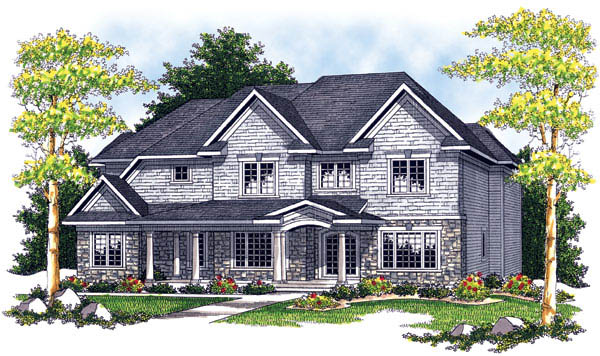 European House Plan 73205 with 4 Beds, 4 Baths, 3 Car Garage Elevation