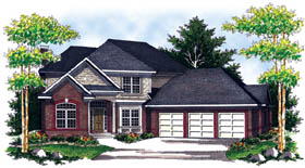 Traditional House Plan 73206 with 4 Beds, 3 Baths, 3 Car Garage Elevation