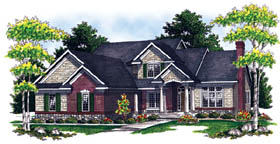 Traditional House Plan 73212 with 4 Beds, 3 Baths, 3 Car Garage Elevation