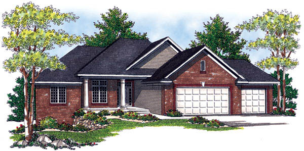 Traditional House Plan 73214 with 3 Beds, 2 Baths, 3 Car Garage Elevation