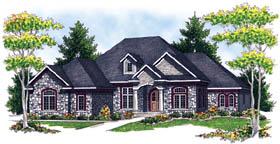 European House Plan 73216 with 3 Beds, 3 Baths, 3 Car Garage Elevation