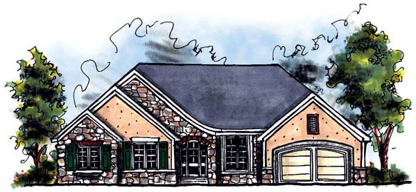 European, One-Story House Plan 73218 with 3 Beds, 2 Baths, 3 Car Garage Elevation