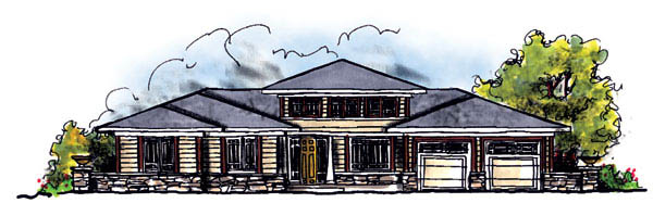 Prairie Style, Southwest House Plan 73219 with 3 Beds, 2 Baths, 3 Car Garage Elevation