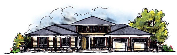 Prairie Style Southwest House Plan 73219 Elevation