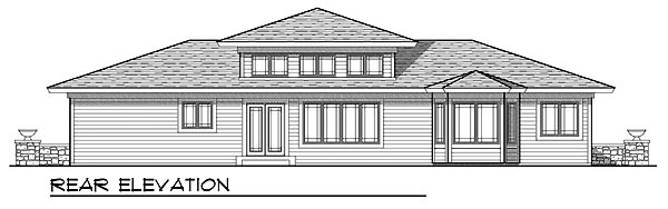 Prairie Style, Southwest House Plan 73219 with 3 Beds, 2 Baths, 3 Car Garage Rear Elevation