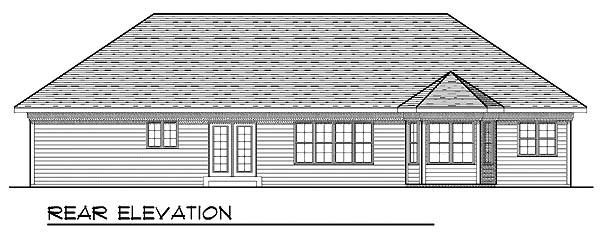 House Plan 73220 | Craftsman Ranch Traditional Style Plan with 1810 Sq Ft, 3 Bedrooms, 2 Bathrooms, 3 Car Garage Rear Elevation