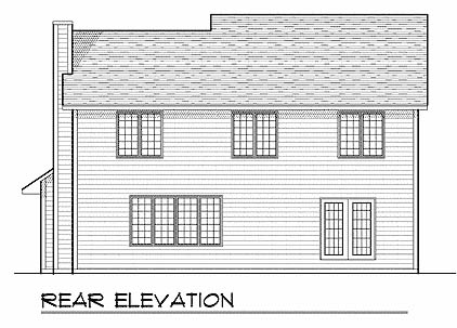 Traditional , Rear Elevation of Plan 73223