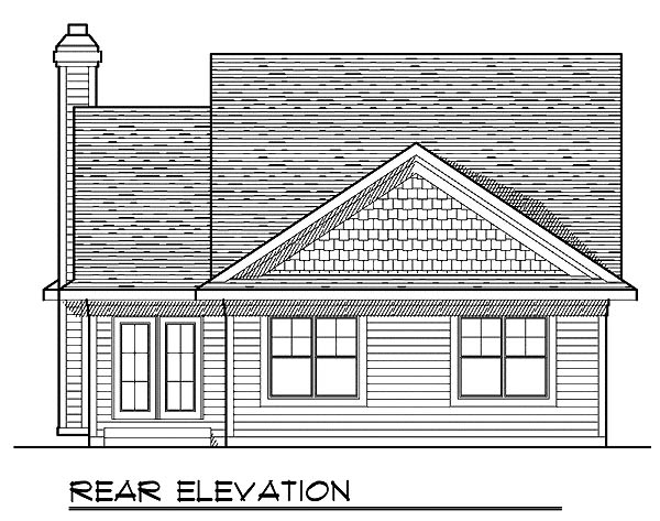 Traditional House Plan 73227 with 2 Beds, 2 Baths, 2 Car Garage Rear Elevation