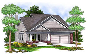 House Plan 73228 | Bungalow Country Style Plan with 1346 Sq Ft, 2 Bedrooms, 2 Bathrooms, 2 Car Garage Elevation